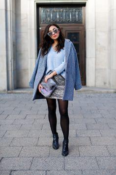 casual everyday look with sequins Sequin Mini Skirt minirock pailletten esprit kombinieren winterlook chic mango blogger modeblog berlin samieze