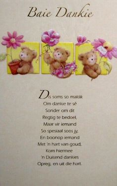 Afrikaans Thank You cards. Baie Dankie, Bible Journaling For Beginners, Afrikaanse Quotes, Bible Images, Goeie Nag, Goeie More, Cute Messages, Baby Keepsake, Sweet Quotes
