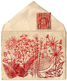 decorative envelope with antique cancelled stamp
