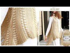 Alize Diva ile Tığ İşi Püsküllü Yelek - Crochet Fringe Vest with Alize Diva - YouTube