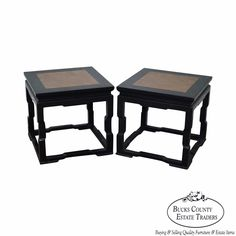 Pair of Chinese Marble Top Square Low Tables #Traditional