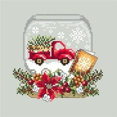 Christmas Truck Snow Globe cross stitch pattern by Shannon Wasilieff. An upside down mason jar houses this cute little red truck carrying a Christmas tree home in the snow. Pattern stitch count is: 70w by 68h and uses DMC, Kreinik and Mill Hill beads. Check out the companion piece, Christmas Deer Sn