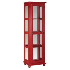 Estante com Lateral de Vidro e Espelho Vermelha