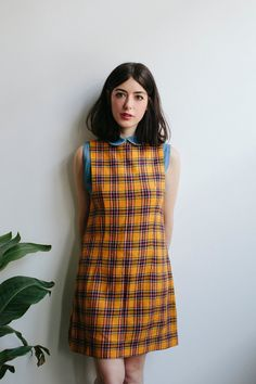 60s Yellow Plaid Pinafore Mini Dress by tomorrowisforever on Etsy