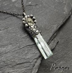 Top Quality Aquamarine necklace,Old style necklace,rustic pendant,rough Unisex pendant,Boho pendant,Blue stone,Pyrite pendant,peager by PeagerFantasyWorld on Etsy