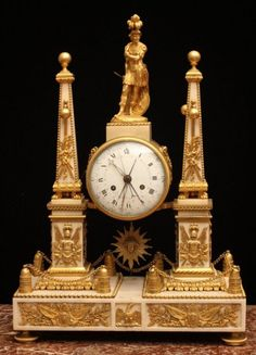 Louis XVI Ormolu And Marble Portico Mantle Clock By Robinet - France   c.18th Century  (Louis XVI Period)