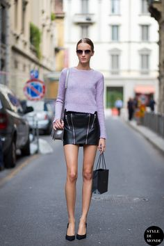 Daria Strokous, Russian model, film actress, after Gucci fashion show. Shop this look (or similar) here: Sweater: Halogen® Crewneck Cashmere Sweater Skirt: The Ragged Priest Reworked Vintage Leathe…