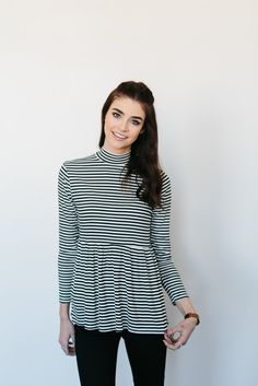 Striped Babydoll Blouse- Black