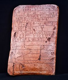 """Linear B Tablet Tn316 called the sacrifice tablet- An inscription hastily written in Pylos before the city fell. It tells either of a vain attempt to placate the gods with human sacrifice to try to save the city OR it tells of """"Sacrificers"""" who were the people who performed regular sacrifice. Found in the ruins at Pylos. This is a large tablet about the size of an iPad mini. Reproduction available soon."""