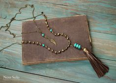 Leather tassel necklace Layered necklace set Bohemian by NessSolo