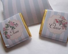 Personalised Chocolate Wedding Place Settings Vintage Floral Pack of 25