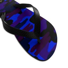 Purple Blue Camouflage Camo Military Print Unisex Flip-Flops Pool Sandals-Made in USA Cute Flip Flops, Mens Flip Flops, Flip Flop Shoes, Designer Flip Flops, Purple Camo, Army Camo, Camo Print, Flipping, Camouflage