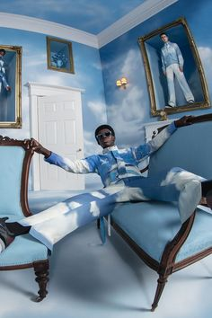 Photoshoot Themes, Men Photoshoot, Virgil Abloh Louis Vuitton, Louis Vuitton Taschen, Guy Aroch, Pink Suit, High Fashion Photography, Tim Walker, Blue Aesthetic