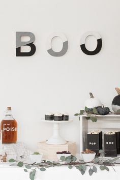 DIY Modern Minimalist Halloween Dessert table