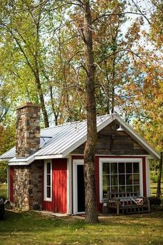 Red cottage house plans prestigious small rustic studio shed cabin graphy b Shed Cabin, Tiny House Cabin, Tiny House Plans, Tiny House Design, Cabin Homes, Cottage House, Cozy Cottage, Cottage Ideas, Red Cottage