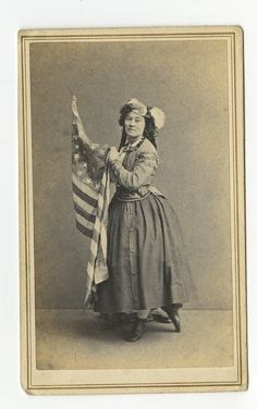 "Carte de Visite of a possible actress portraying a ""Daughter of the Regiment"". Photographed in Boston at Miller & Rowell Studio. Daughter Of The Regiment, Bathing Costumes, Civil War Photos, Female Soldier, Old Glory, Portrait Poses, American Civil War, Vintage Photos, Boston Area"