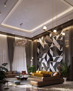 Image may contain: indoor, curtain and vase Drawing Room Interior, Luxury Homes Interior, Apartment Interior, Living Room Interior, Interior Design Living Room, Living Room Designs, Design Bedroom, Living Rooms, High Ceiling Living Room