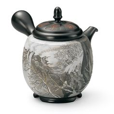 Carved Teapot - Landscape - Snow