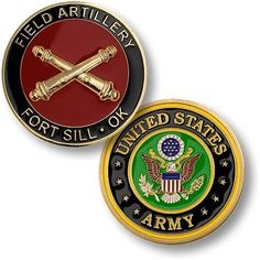 U S Army Field Artillery Fort Sill Challenge Coin Army Branches, Coin Collecting Books, Army Medic, Military Challenge Coins, Military Memorabilia, Army National Guard, Commemorative Coins, Big Guns, United States Army