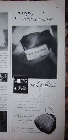 1950 Whiting & Davis Ad