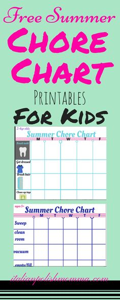 Want to keep your kids busy this summer? Have them help you out around the house with these Free Chore Chart Printables For Kids! Chore charts are multiple age groups!