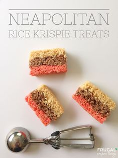 Neapolitan Rice Krispie Treats. Layered dessert with butter, chocolate, strawberry, and marshmallow flavor. Recipe on Frugal Coupon Living. Pin to Pinterest
