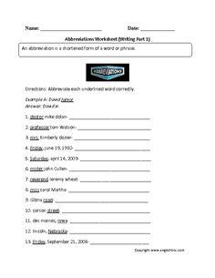 Abbreviations worksheets second grade