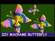 DIY Macrame Butterfly Wall Hanging – Willkommen in meiner Welt Macrame Owl, Macrame Knots, Micro Macrame, Free Macrame Patterns, Flower Pot Design, Butterfly Wall, Hand Embroidery Designs, Handmade Flowers, Flower Making