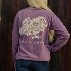 Berry Paisley Long Sleeve Pocket Tee - Shelly Cove  - 3