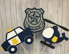 3 pcs Police theme centerpieces Police Party by CraftyDesignsbyMIA