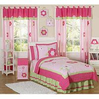 Sweet Jojo Designs Pink and Green Flower Collection Children's Bedding - 4-Piece Twin Set
