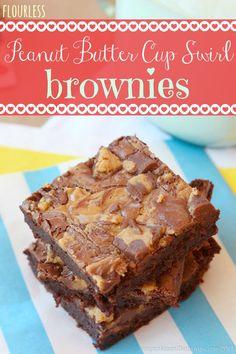 Flourless Peanut Butter Cup Swirl Brownies | cupcakesandkalechips.com | #glutenfree #chocolate #dessert