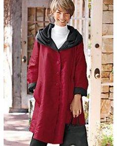 Women's Swing-Style Reversible Raincoat - Red Black