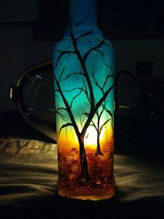 Crafted by Hubs: Handpainted nightlight!! Old bottle reused.