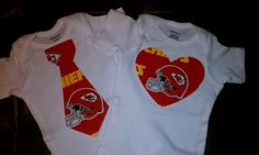 Kansas City Chiefs tie or heart onesie on Etsy, $12.00