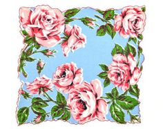 VINTAGE HANKIE, Giant Pin Red Roses, Lt. Blue Background, Rich Colors, Green Leaves, Double Scalloped Red Corded Hem, Excellent Conditio