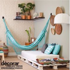 Decore bem seu ambiente gastando pouco, veja nossas opções de #redesdedormir em nosso site http://www.redesdedormir.com/rede-de-dormir-pernambucana-azul-celeste/p