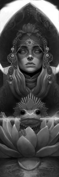 ArtStation - the frog-princess, denis mozgovoy Tattoo Sketches, Art Sketches, Art Drawings, Foto Fantasy, Fantasy Art, Amazing Drawings, Amazing Art, Tattoo Studio, Frog Princess