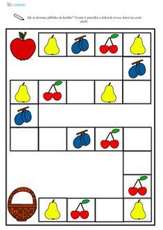 Ovoce - logické myšlení,  pracovní list, předškoláci Worksheets, Kindergarten, Homeschool, Exercise, Teaching, Fruit, Activities, Learning, Projects