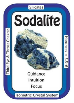 "Crystal Card of the Day: Sodalite, ""I am guided by logic and intuition.""Sodalite is also very helpful for those who seem to be encountering  many difficulties in their life, as it can bring unhealthy, ingrained  patterns to the surface to be released, and it can promote deep  self-examination to reveal underlying causes to one's problems. When  dealing with such covert issues, one should work with the stone consistently, by meditating with it and possibly sleeping with it under the pillow to…"