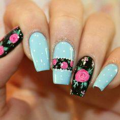 Uñas lina Leopard Nails, Blue Nails, Pedicure Nails, Manicure, Karma Nails, Nail Art Printer, Short Nails Art, Sexy Nails, Flower Nail Art