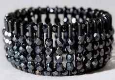 """aurora"" black safety pin bracelet w/ anthracite czech glass beads $45"