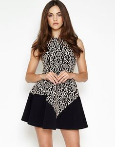 Hedonia Lace Contrast Skater Dress