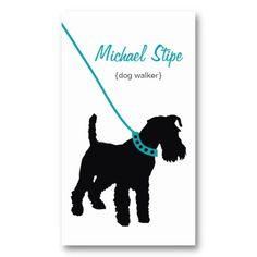 dog walker teal business card