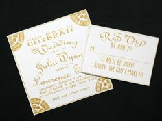 Wedding Invitations Now available!  Check them out!  Golden Wedding Invitation Suite by NightingaleProjects on Etsy