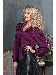 сливовый Sexy Blouse, Blouse And Skirt, Blouse Dress, Long Leather Skirt, Leather Skirts, Purple Blouse, Satin Blouses, Office Fashion, Hot Pants