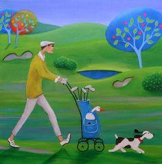 quenalbertini: by Iwona Lifs-ches Golf Painting, Golf Art, Rock Painting Designs, Dream Art, Art Themes, Naive Art, Whimsical Art, Beautiful Paintings, Art Oil
