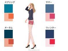 ーのニットとピンクのパンツのコーディネート:パーソナルカラーの4つのタイプの配色例