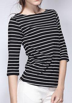 White Striped Round Neck Seven's Sleeve Cotton T-Shirt