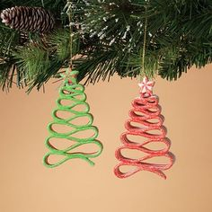 "Peppermint Ribbon Candy Christmas Ornament Set of 2 Size: 5"" H Material: Clay dough Color: Red, Green Set includes one of each style."
